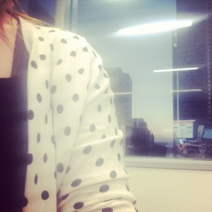 Wearing Aunty Judy's friend's frock with Mum's polka dot cardigan.